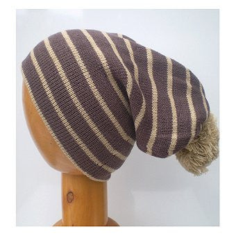 Dreadz Thick Striped Slouch Beanie Bobble Hat (Brown)