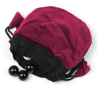 Velvet Drawstring Bead Pouch (Purple)