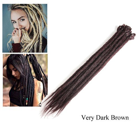 Dreadlock Synthetic Single Ended Dread Extensions (x 5 pack) (Very Dark Brown)