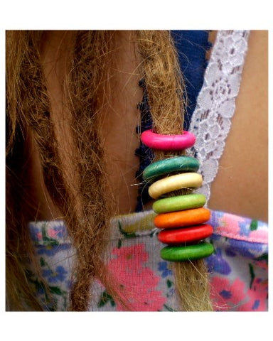 Dreadz Wooden Round Hoop Hair Beads (7mm Hole) x 7 Bead Pack