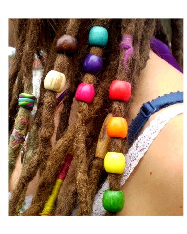 Large Wooden Barrel Multi Coloured Hair Beads (8mm Hole) x 9 Bead Pack