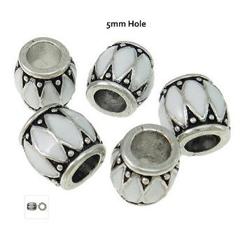 Dreadz Silver & White Enamel Drum Dreadlock Hair Beads (5mm Hole) x 1 Bead
