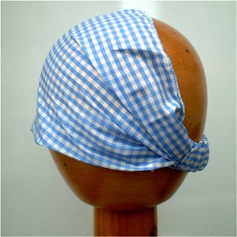 Fair Trade Stretchy Cotton Headwrap/Headband (Blue Check)