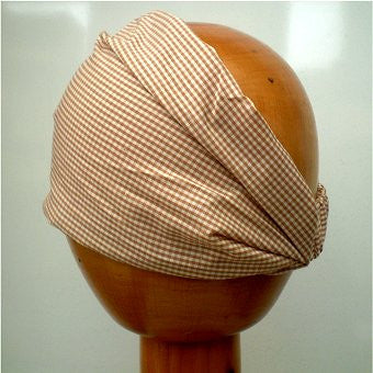 Fair Trade Stretchy Cotton Headwrap/Headband (Brown Check)