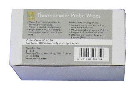 Thermometer Probe Wipes Carton (100 sachet wipes)