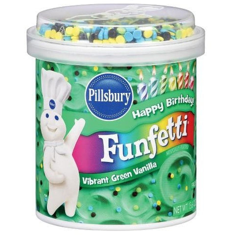 Pillsbury Funfetti Vibrant Green Vanilla Frosting (442g) 15.6oz - A Taste of the States