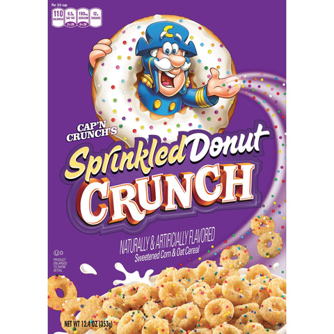 Cap'n Crunch Sprinkled Donut Crunch Cereal (12.4oz) - A Taste of the States