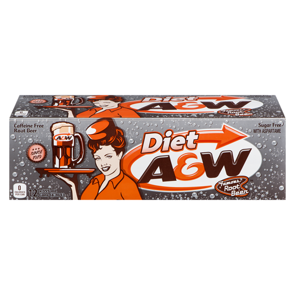 A&W Diet Root Beer Fridge pack (12 x 12fl.oz cans) - A Taste of the States