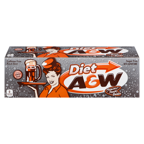 A&W Diet Root Beer Fridgepack (12 x 12fl.oz cans) - A Taste of the States