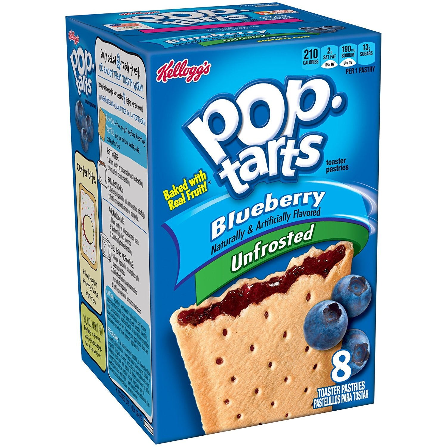 Kellogg's Pop Tarts Unfrosted Blueberry (8 pack) - A Taste of the States