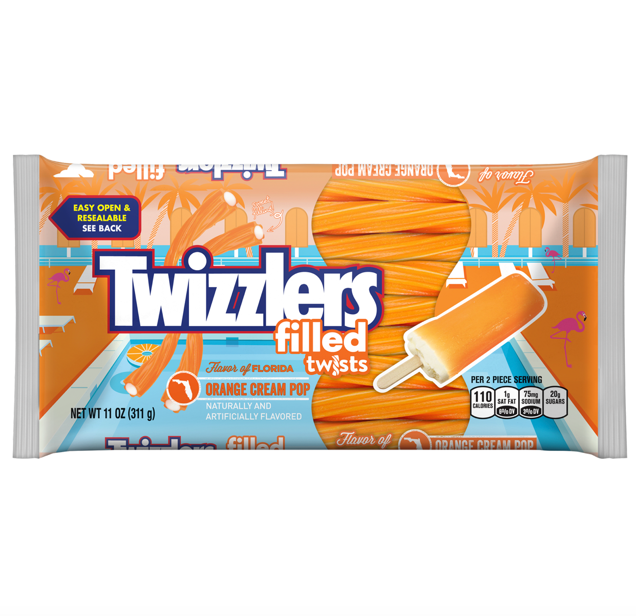 Twizzlers Filled Twists: Orange Cream Pop (311g) 11oz - A Taste of the States