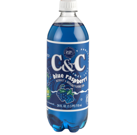 C&C Blue Raspberry Soda (24fl.oz) - A Taste of the States