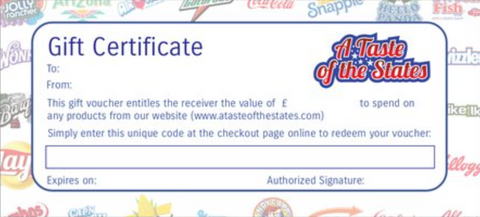 A Taste of the States Gift Certificate (inc blank envelope) - A Taste of the States