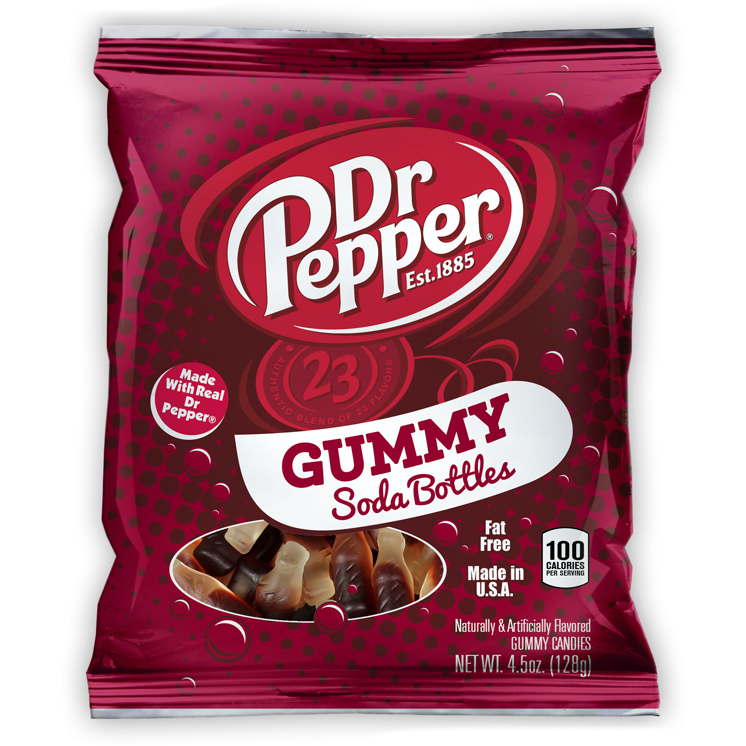 Dr Pepper Gummy Soda Bottles 4.5oz (128g) - A Taste of the States