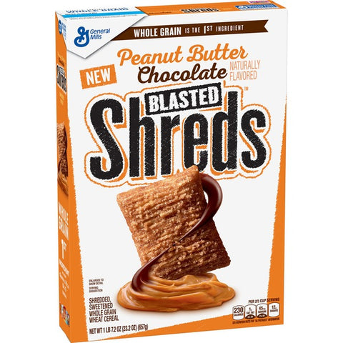 Peanut Butter Chocolate Blasted Shreds Cereal XL BOX (23.2oz) 657g - A Taste of the States