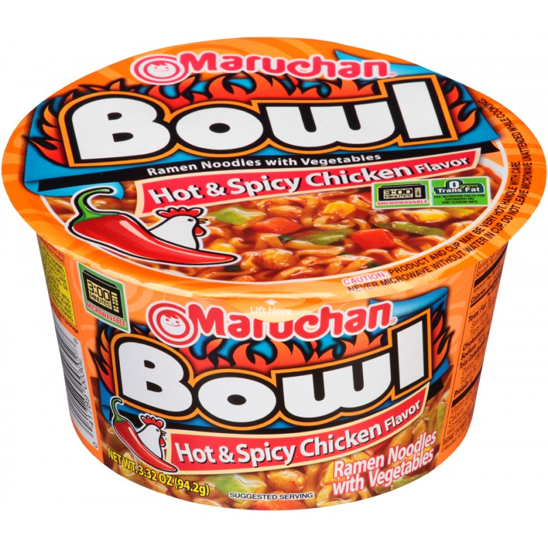 Maruchan Bowl Noodles | Hot & Spicy Chicken (3.3oz) - A Taste of the States