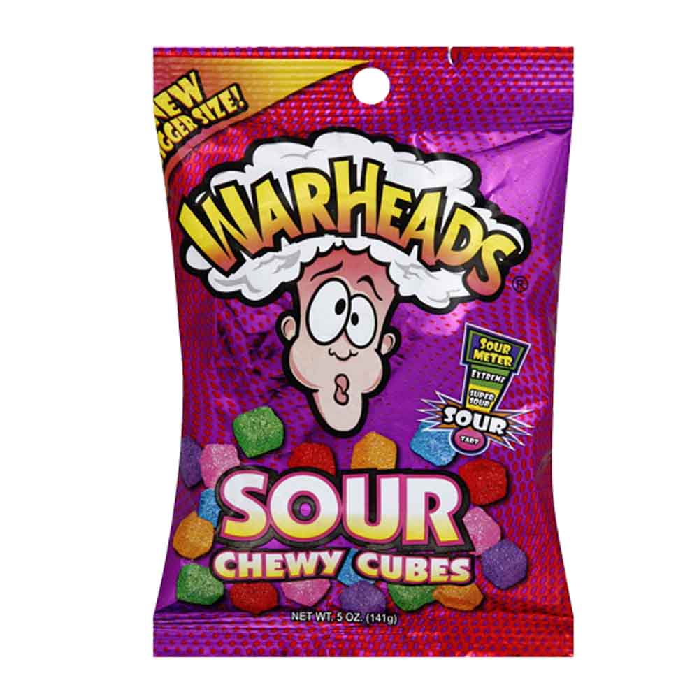 Warheads Sour Chewy Cubes Peg Bag (5oz) - A Taste of the States
