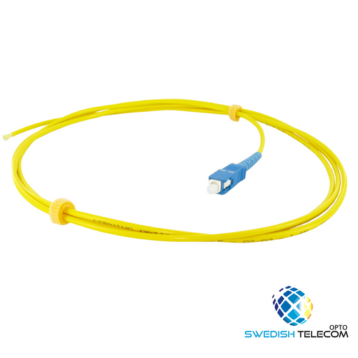 12 Fibers SC/UPC 9/125 Single Mode Color-Coded Fiber Optic Pigtail, Unjacketed