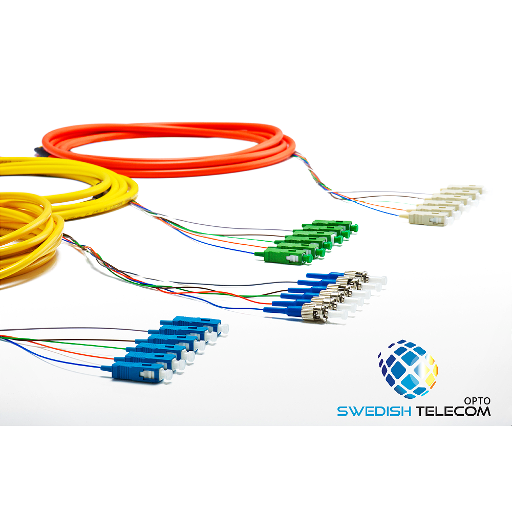Customized 4 Fibers LC/SC/FC/ST OM3 Multimode Indoor Tight-Buffered Multi-Fiber Breakout Cable