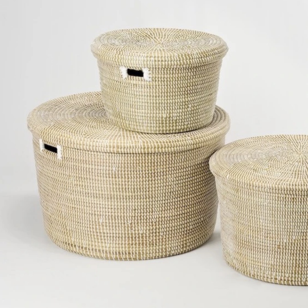 Artisanne Round Storage Baskets Natural Large Medium and Small