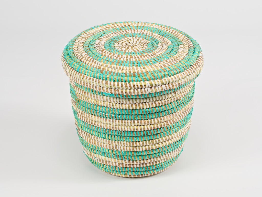 Artisanne small round storage basket natural with mint stripes