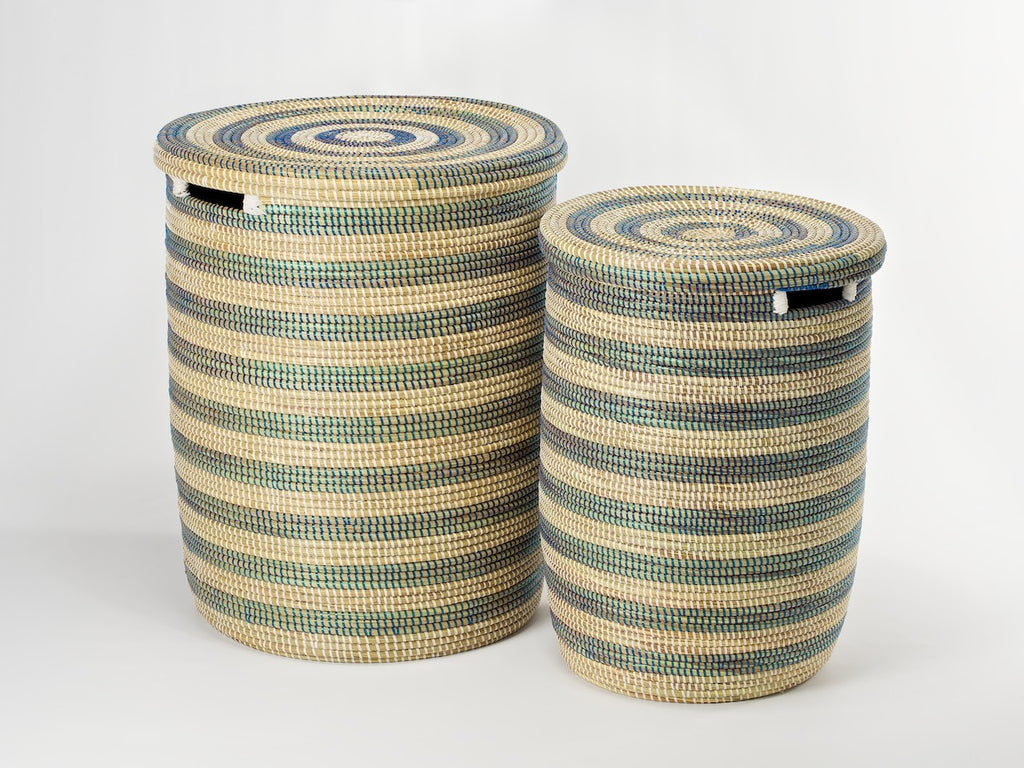 round-laundry-basket-natural- blue-stripes