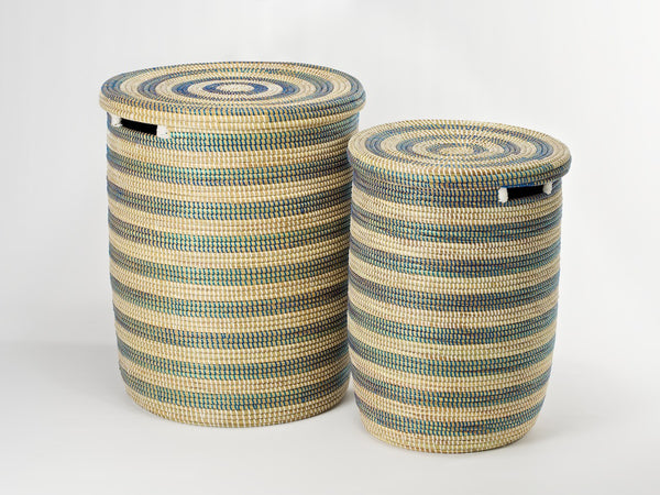 Artisanne round laundry basket natural with blue stripes