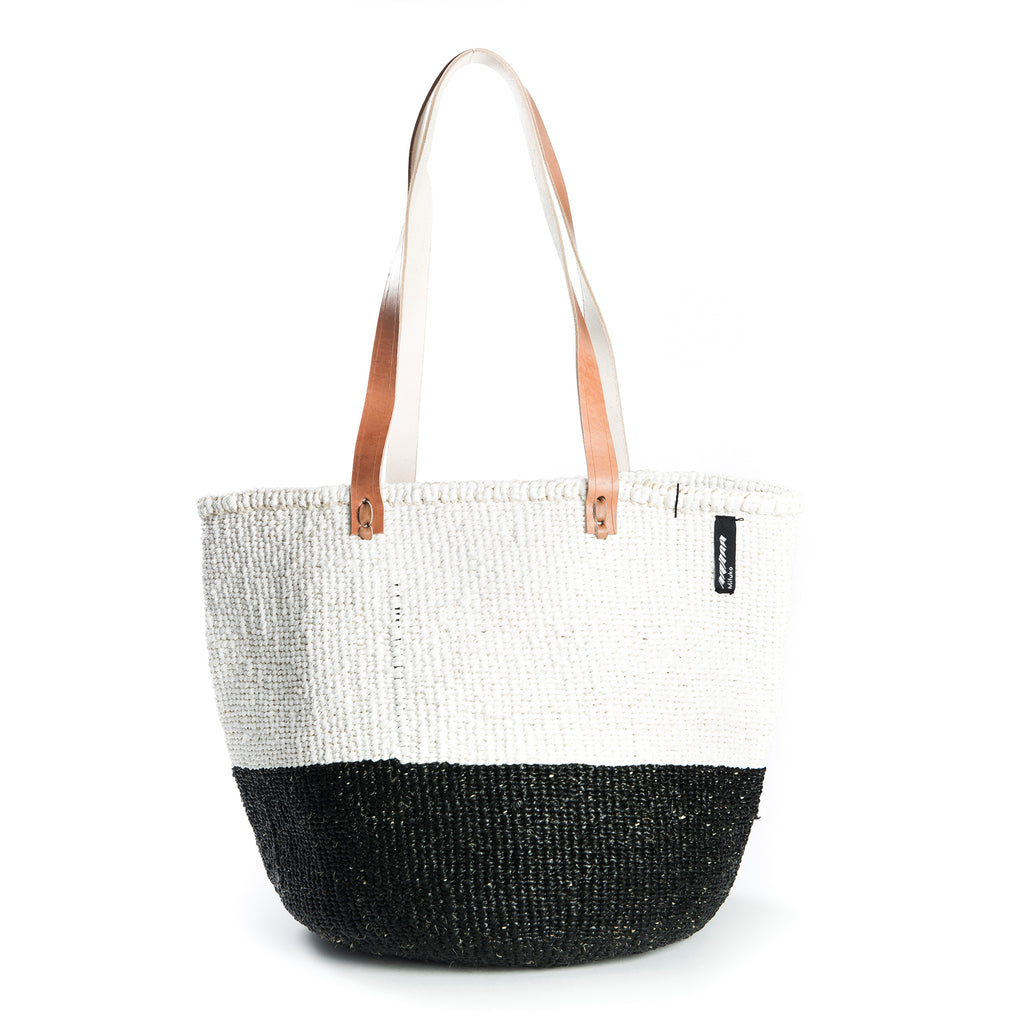 Medium Kiondo Basket with Long Leather Handles by Mifuko - White + Black