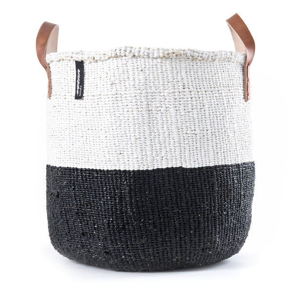 Medium Kiondo Basket with Leather Handles by Mifuko - White + Black