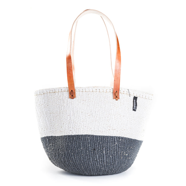 Medium Kiondo Basket with Long Leather Handles by Mifuko - White + Grey