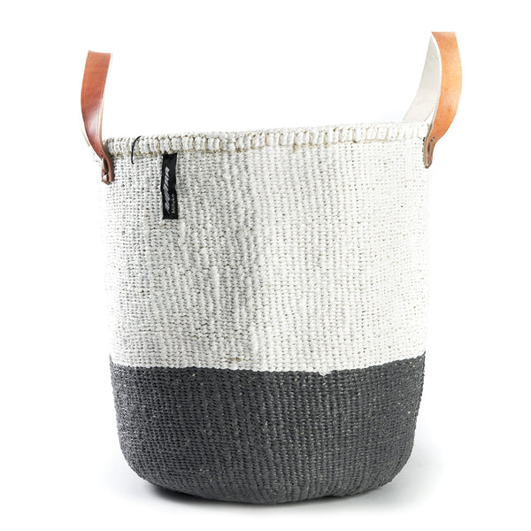 Medium Kiondo Basket with Leather Handles by Mifuko - White + Grey