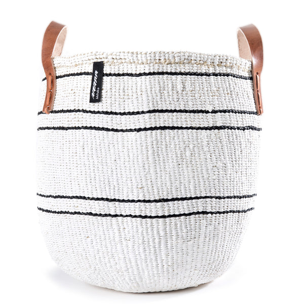 Medium Kiondo Basket with Leather Handles by Mifuko - White + Black Stripes