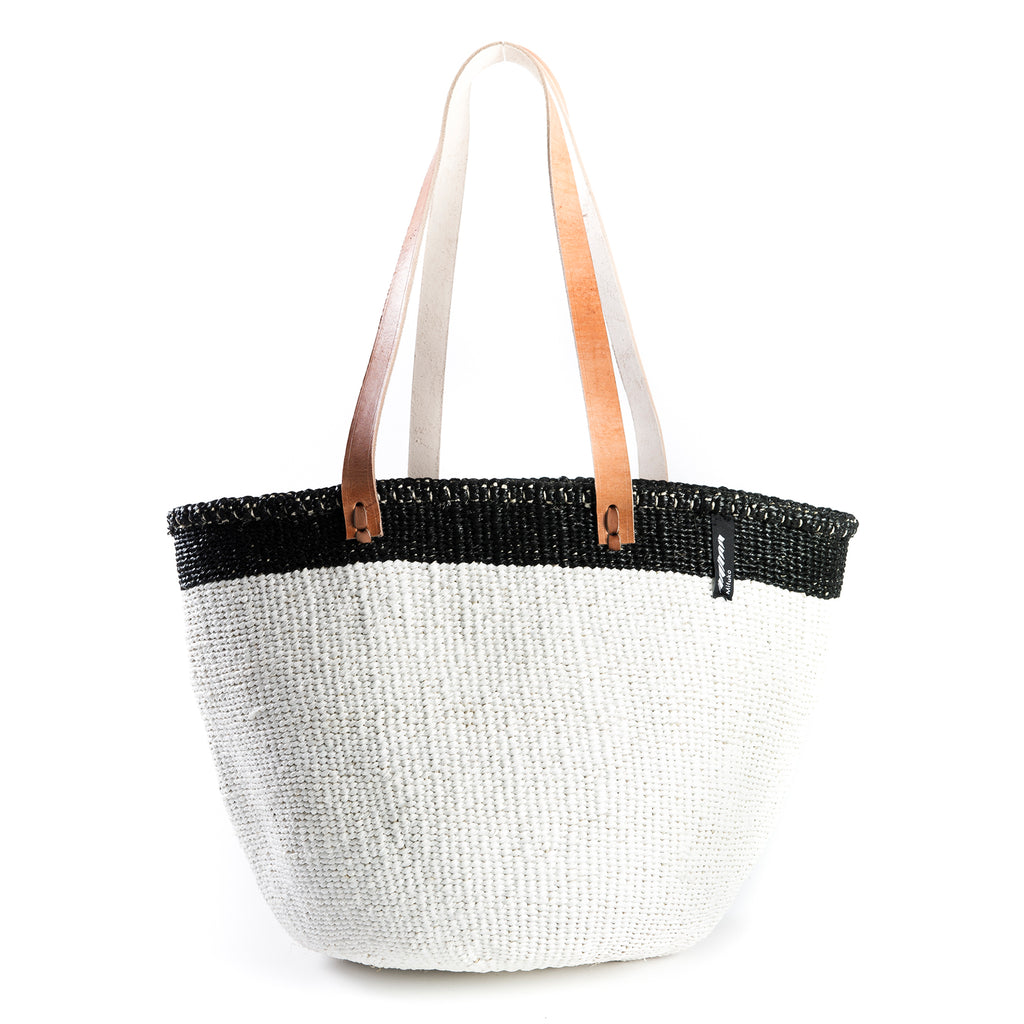 Medium Kiondo Basket with Long Leather Handles by Mifuko - Black Top Stripe