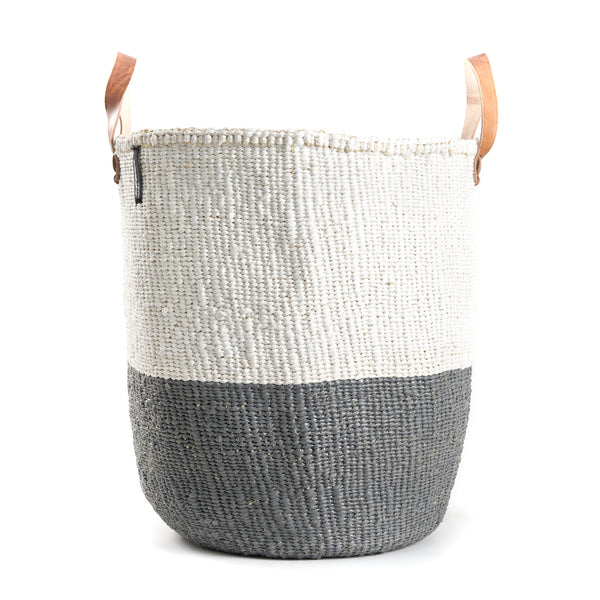 Large Kiondo Basket with Leather Handles by Mifuko - White + Grey