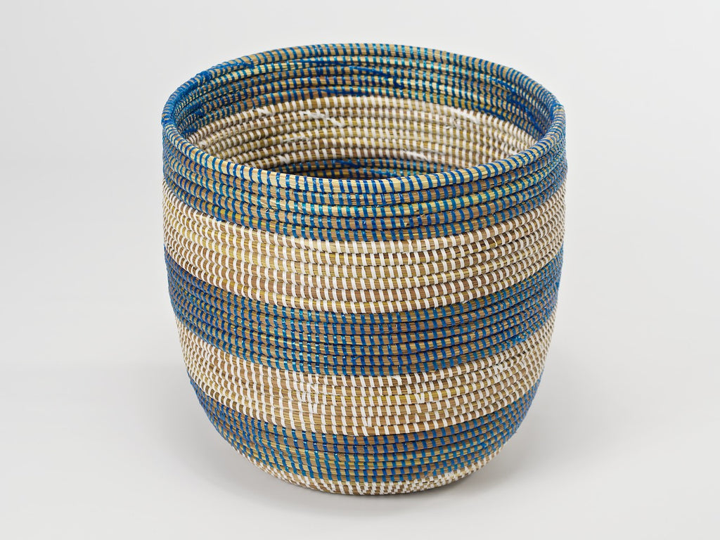 Artisanne Handwoven Wastepaper Basket natural with blue stripes