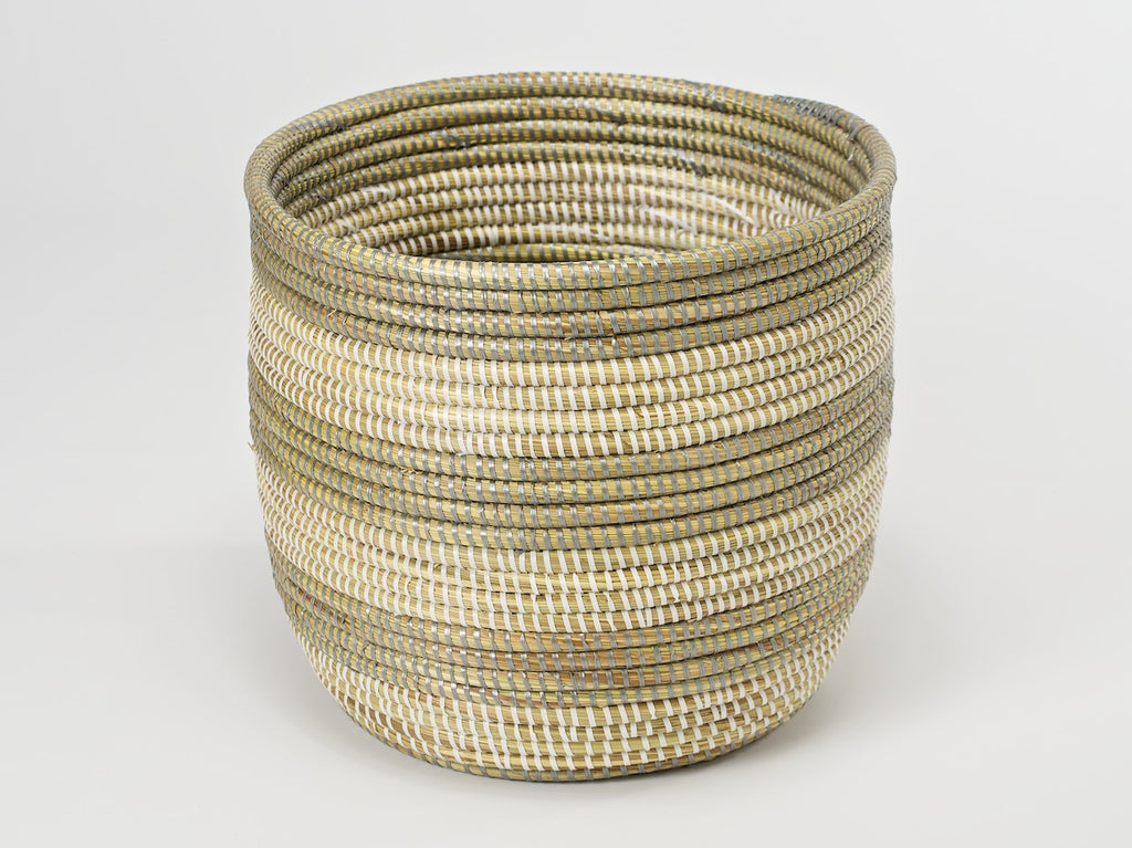 Artisanne Handwoven Wastepaper Basket natural with grey stripes