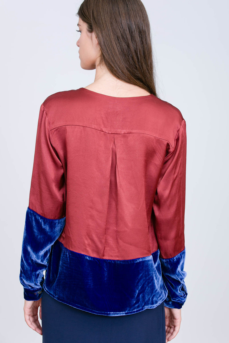 Camisa Bicolor Empire/Velvet Indian Red/Midnight Blue
