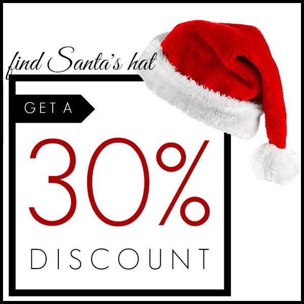 Image promoting finding a graphic of Santa's hat granting the finder a 30% discount