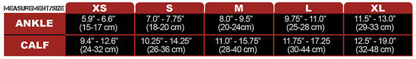 CSX 15-20 mmHg Red on Black Compression Calf Sleeves Size Chart