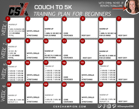 Couch to 5K Training Plan Calendar Image