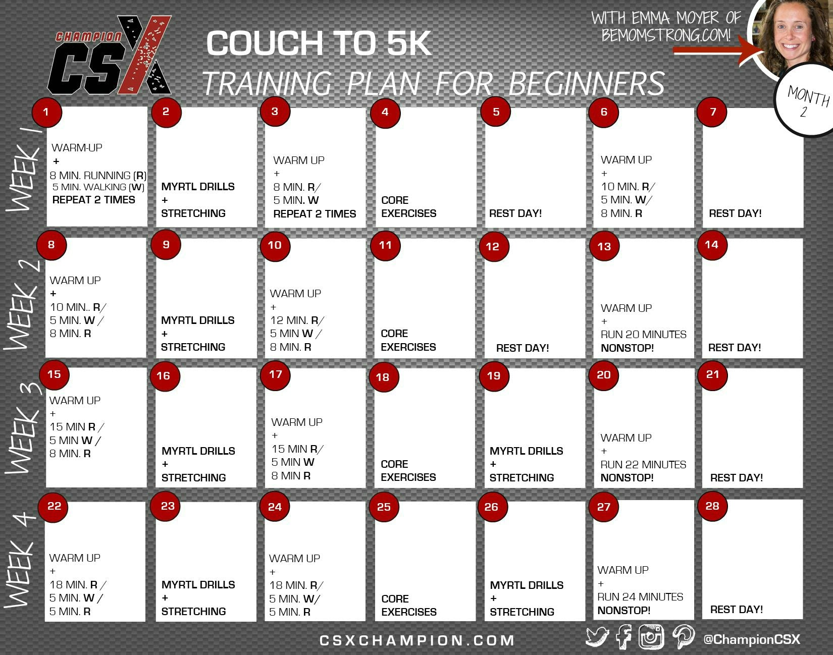 This month, we will continue with a similar pattern, but add some more  advanced strength and flexibility moves, as well as longer running  intervals.