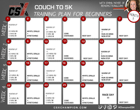 Couch to 5K Training Plan - Month 3 - Calendar Image