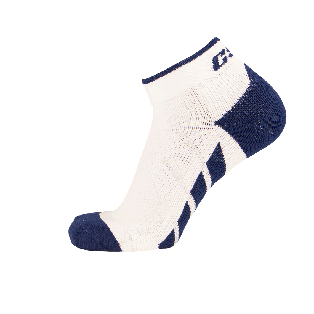 X110, High Cut, Pro Ankle Socks, Navy Blue on White, Side View