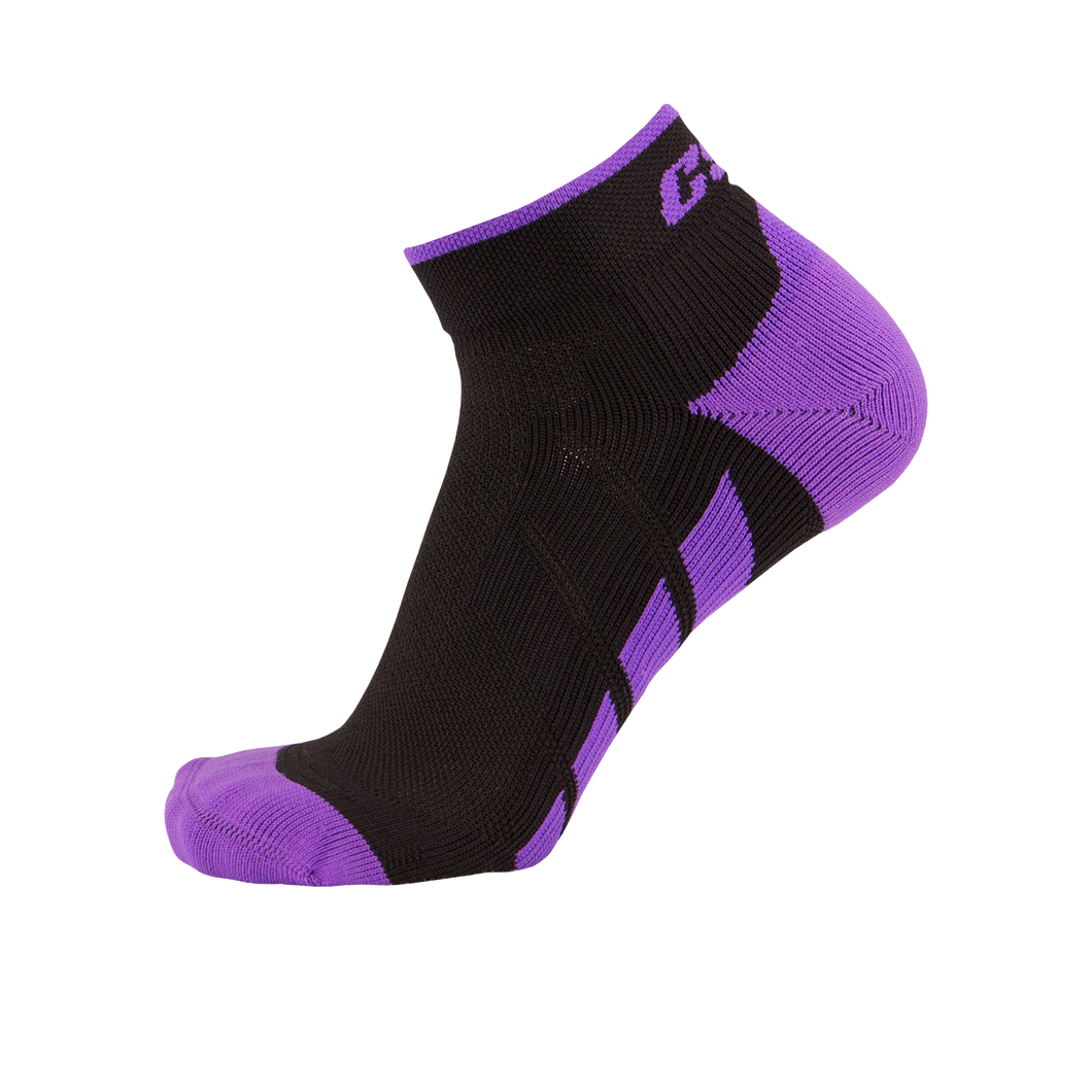 X110, High Cut, Pro Ankle Socks, Purple on Black, Side View