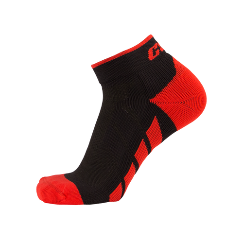 X110, High Cut, Pro Ankle Socks, Red on Black, Side View