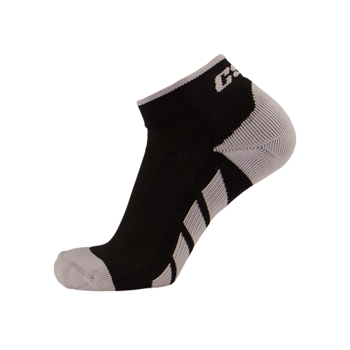 X110, High Cut, Pro Ankle Socks, Silver on Black, Side View