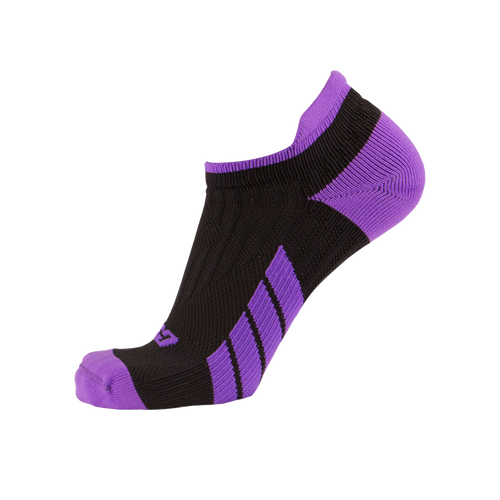 X100, Low Cut, Pro Ankle Socks, Purple on Black, Side View