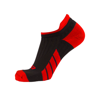 X100, Low Cut, Pro Ankle Socks, Red on Black, Side View