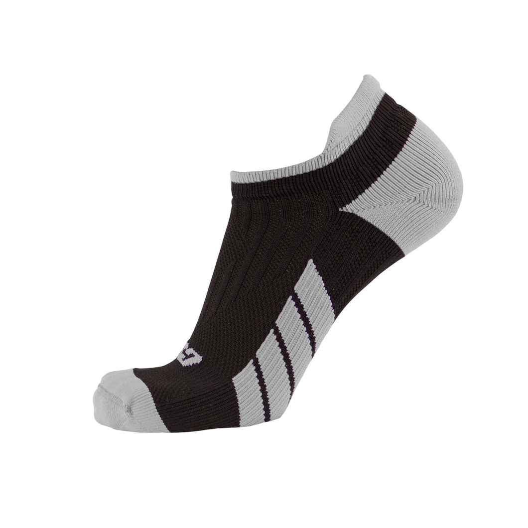X100, Low Cut, Pro Ankle Socks, Silver on Black, Side View
