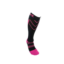 X220, 20-30 mmHg, Knee High, Compression Socks, Pink on Black, Front View